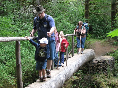 Hiking across the log bridge 1