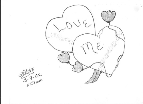 love heart drawings in pencil