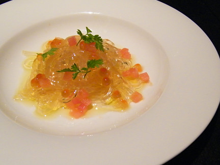 "Dashi ""Linguini"" with Tomato, Lemon and Caviar, MyLastBite.com"