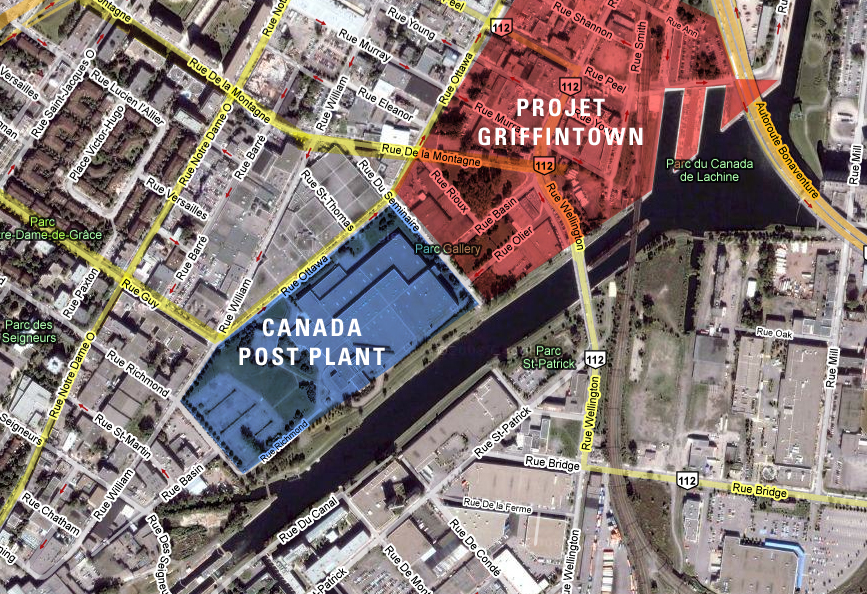 Canada Post Plant / Projet Griffintown map