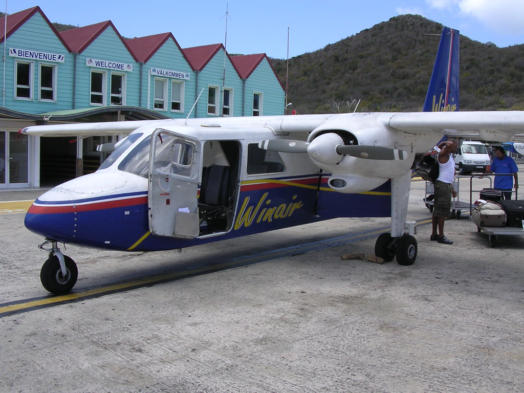 Winair BN2A Islander PJ-BIW at  St Barths Lesser Antilles Dutch west Indies