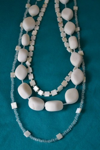 White stacked necklace