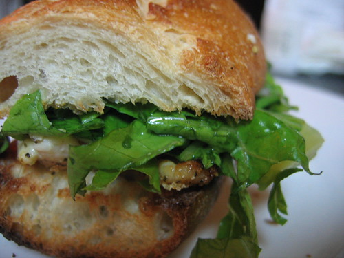 Roasted Chicken Sandwith with Julienned Romaine Slaw, Red Onion, Jalapenos and Red Wine Vinegar