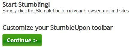 StumbleUpon - Continue Customizing