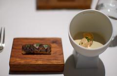 Truffled Toast with Jelly of Quail, Langoustine Cream, Parfait of Foie