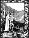 Aubrey Beardsley. Launcelot and the Witch Hellawes.  Le Morte d'Arthur.