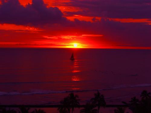 Sunset, Waikiki Beach, Hawaii
