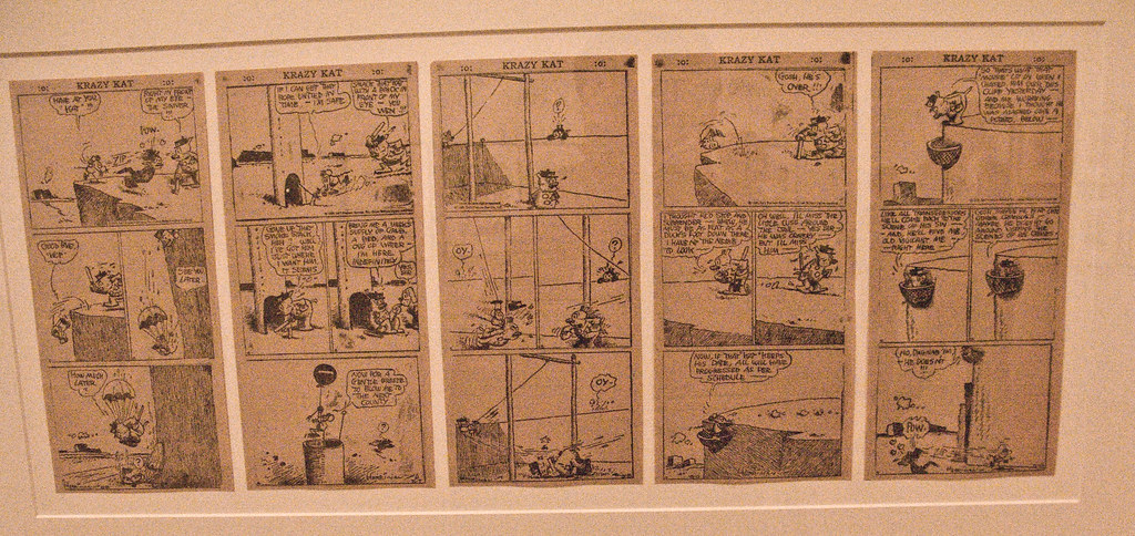 George Herrimans Krazy Kat, where love is expressed in brick-form. Recently reprinted in beautiful Chris Ware designed tabloid-sized editions by Fantagraphics.