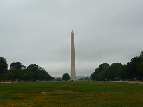The Washington Monument in the rain