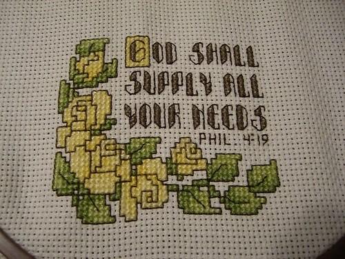 Cross stitch for Grandma -- almost done!
