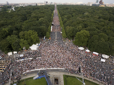 The crowd in Tiergarten Park, Berlin, gathered to hear Barack Obama speak during the 2008 campaign.