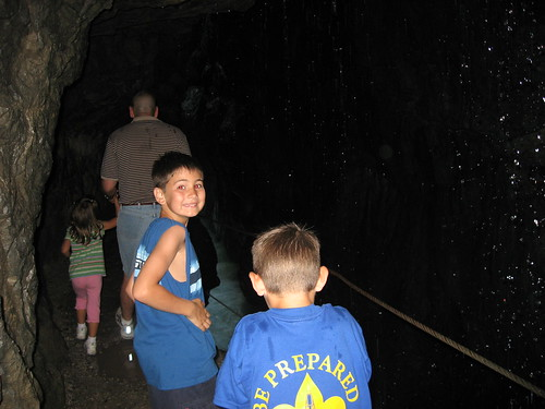 In one of the small tunnels