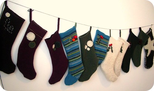 The stocking were hung from the studio wall with care