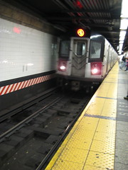 New York subway train arriving