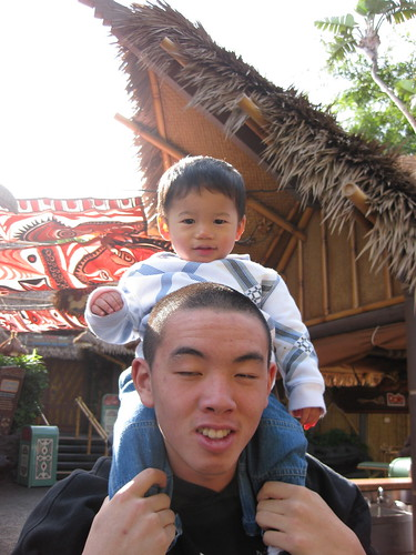 Emmett and one of his Biu-Kao-Foos outside the Tiki Room