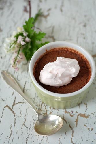 Dark Chocolate Rhubarb Pots de Creme