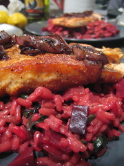 beet risotto with pan-seared salmon