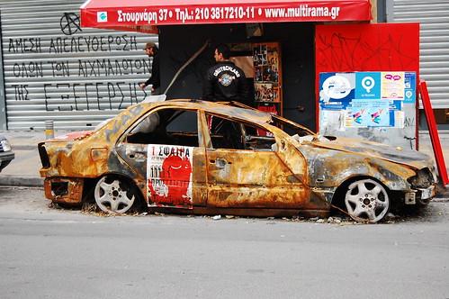 Greece Riots - Car