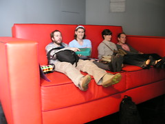 Sitting on a great big couch at the Pippilotti Rist exhibition, FACT gallery, Liverpool.