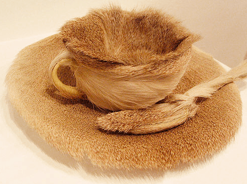 """Object in Fur"" by Meret Oppenheim. Image courtesy of http://design-crisis.com"
