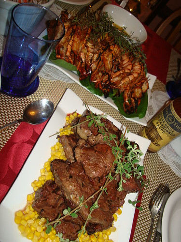 grilled steak and prawns