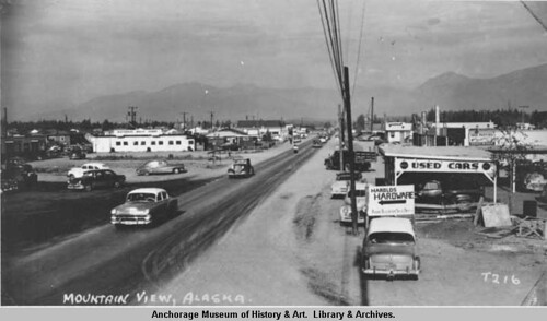 Looking east on the Palmer Hwy. at Bragaw St., 1950s.