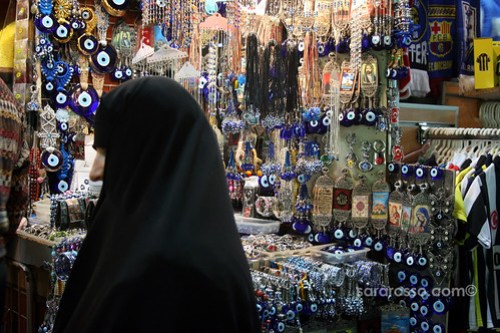 Evil eye merchandise, Spice Bazaar, Istanbul, Turkey