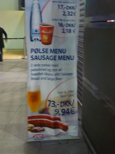 Swedish menu for Danish red hot dogs