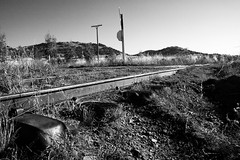 A level crossing on a driveway, located south of Queanbeyan on the now-closed section of the Bombala Line.