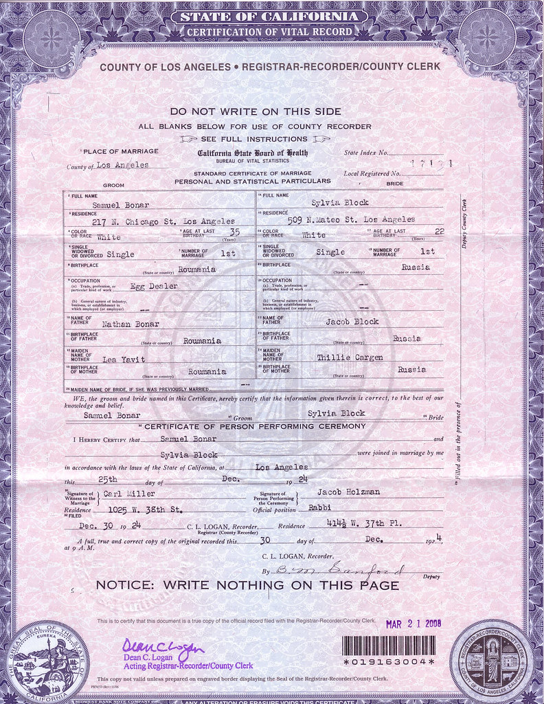 1924 sam marries sylvia block in los angeles california the documents county of la0001g aiddatafo Gallery