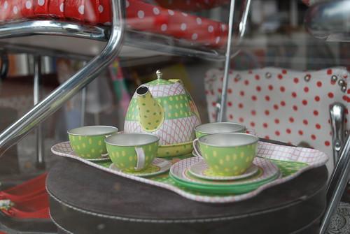 Tea set in store window