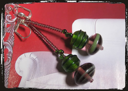 Orecchini viola verde - Green purple earrings MEHIVVS