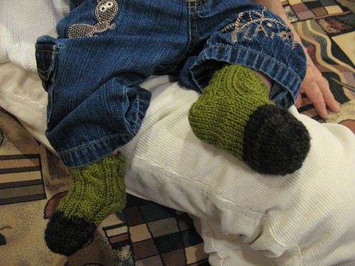 Cabled Baby Socks in Action