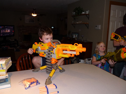 This machine gun is almost as big as Cody.