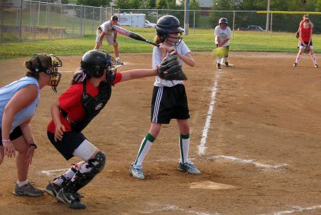 Swing Batter! That was in the strike zone! (Baby Girl at bat)