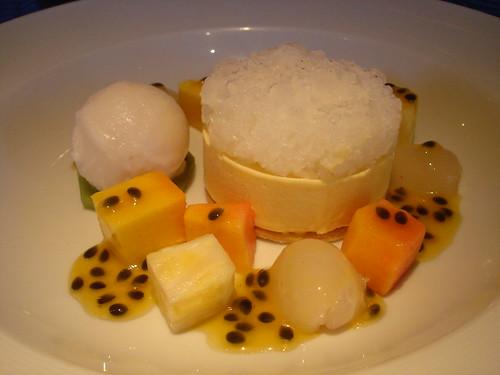 Coconut Parfait, Lime Granite, Lychee Sorbet