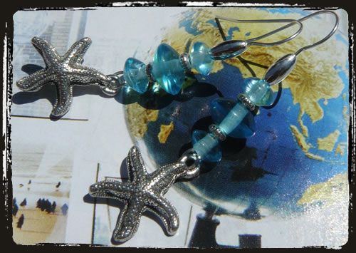 Orecchini azzurri stella marina - Light blue earrings with sea star MEHGSTM
