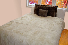 White Possum Fur Queen Bed Throw