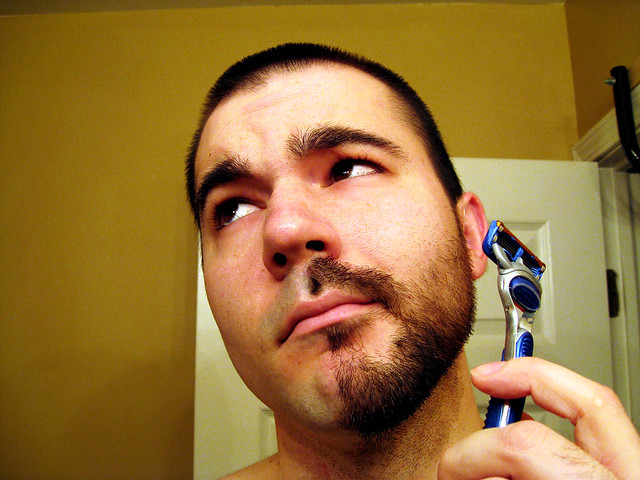 Half shaved man