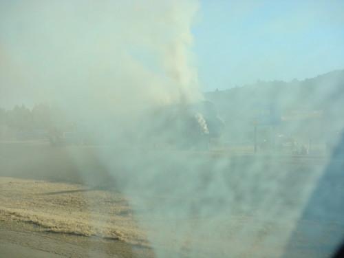 Hay truck on fire!