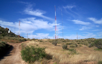 Cell towers and radio towers on Tucumcari Mountains first level.