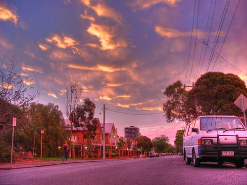 gorgeous sunset over union street, Melbourne.