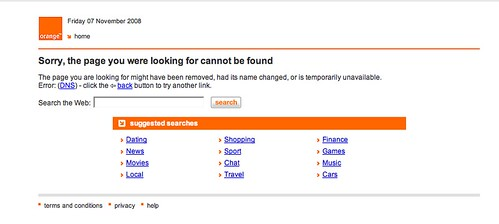 Orange broadband intercepting (some) page not found pages...