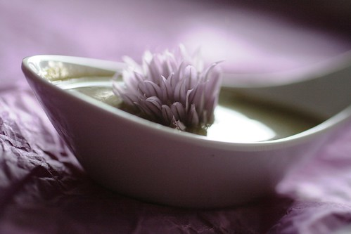 chrysanthemum soup with chive blossom