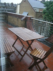 Rain on our terrace, London