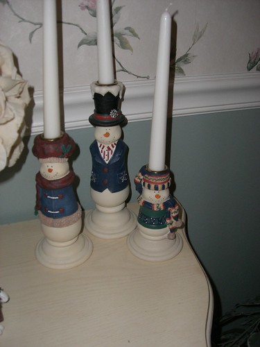 Snowmen candle holders