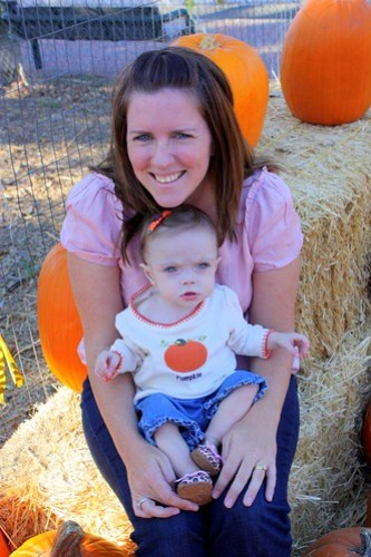Mommy & Maddie at the pumpkin patch