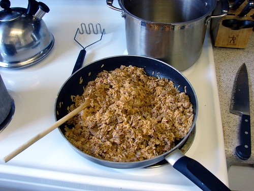 Jambalaya and sausage for filling