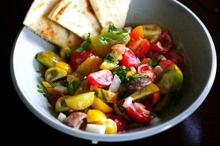 tomato salad with tahini dressing