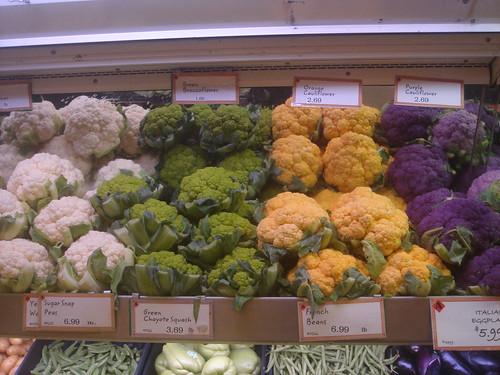 多種顏色的花椰菜